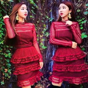 Self Portrait high neck red lace dress nwt
